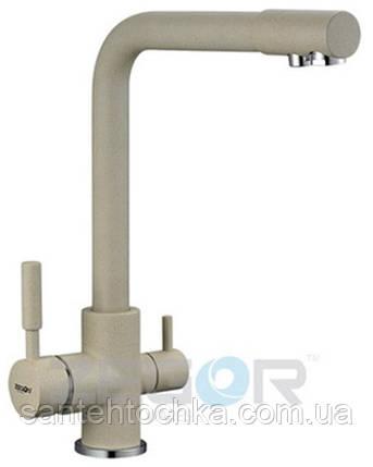 Змішувач для кухні Zegor SAF18-A092KS латунь на дві води (колір сатин), фото 2