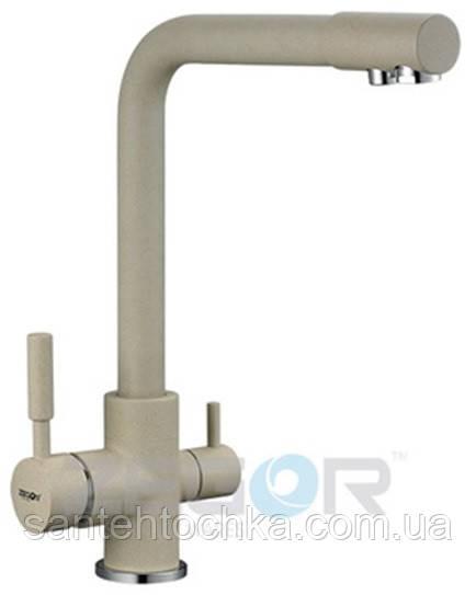 Змішувач для кухні Zegor SAF18-A092KS латунь на дві води (колір сатин)