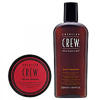 Набор American Crew Cream Pomade + Daily Moisturizing Shampoo