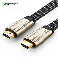 HDMI кабель V2.0 Ugreen HD102 с поддержкой FullHD/4K/3D video, многоканальный звук 5.1/7.1 (Плоский, 1м)