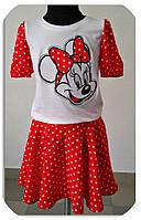 Костюм для девочки футболочка и юбка Микки Маус, 2 цвета синий и красный,рост 110-116-122-128-134см ,код 0600, фото 2