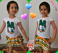Костюм для девочки футболочка и юбка Утка Дилли, 3 цвета ,рост 110-116-122-128-134см ,код 0604, фото 3