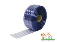 ПВХ лента для завес 200х2 мм ребристая прозрачная