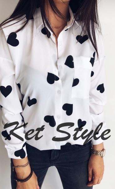 Рубашка женская Сердечки. Ткань :креп шифон, размеры: с м л