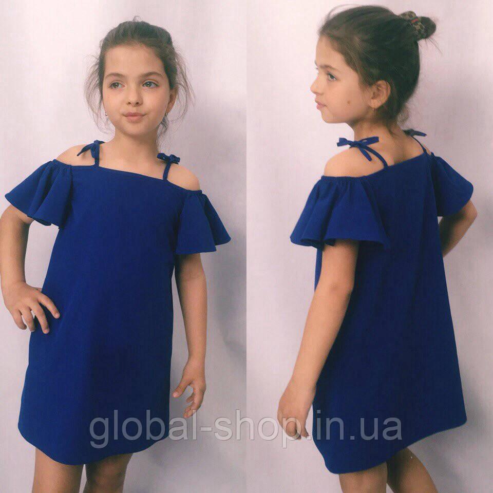 Платье для девочки, ткань софт, рост 122;128;134;140 см  ,3 цвета: електрик,мята,розовый,  код 0999
