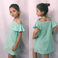 Платье для девочки, ткань софт, рост 122;128;134;140 см  ,3 цвета: електрик,мята,розовый,  код 0999, фото 2