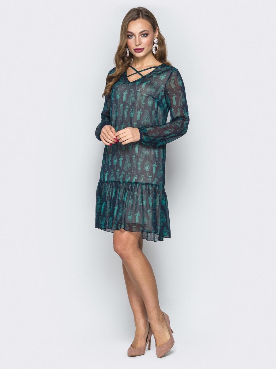 258b9511f541439 Легкое шифоновое платье-трапеция большие размеры р.42,44,46,48,50, р ...