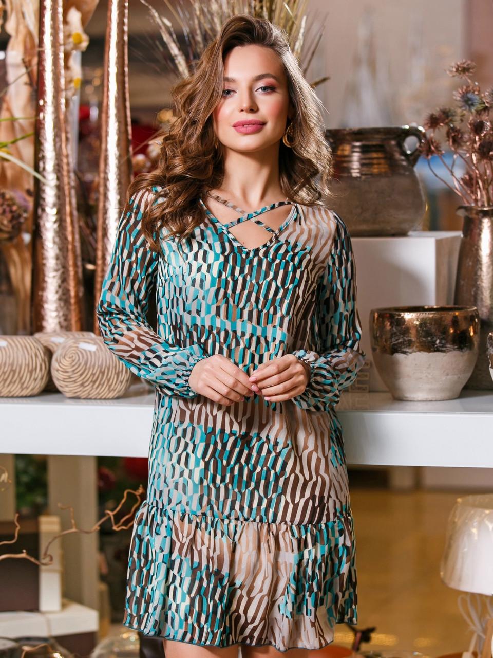 8051eabe7bc Стильное молодежное женское шифоновое платье батал р.42