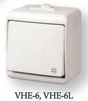 """Выключатель """"крестовидный"""" с подсветкой (серый) (IP44) VHE-6L-SR"""