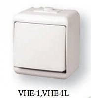 1-клавишный выключатель с подсветкой (коричн.) (IP44) VHE-1L-KR