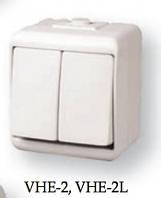 2-клавишный выключатель с подсветкой (серый) (IP44) VHE-2L-SR