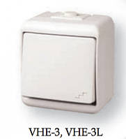 """Выключатель """"лестничный"""" с подсветкой (коричн.) (IP44) VHE-3L-KR"""