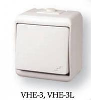 """Выключатель """"лестничный"""" с подсветкой (серый) (IP44) VHE-3L-SR"""