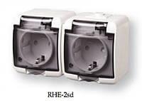 2-я розетка с З/К (Schuko) RHE-2sd белый с дымчатой (прозрачной) крышкой