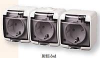 3-я розетка с З/К (Schuko) RHE-3sd белый с дымчатой (прозрачной) крышкой