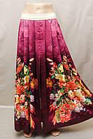 Юбка Турция в складку шелк длиная с разрезам яркая цветная , фото 1