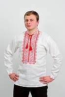 Вышиванка мужская  на льне, красная вышивка
