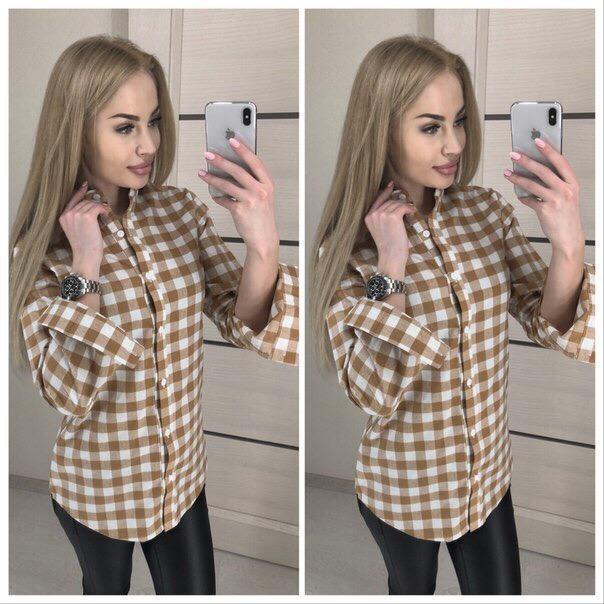 Рубашка женская в клетку. Размеры с и м,  ткань - хлопок