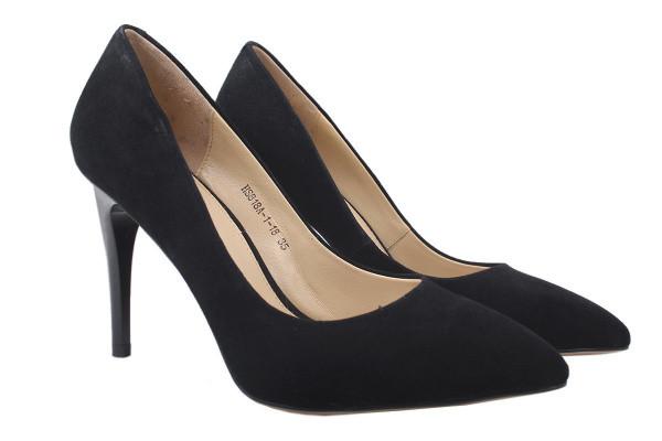 Туфли женские на шпильке из натуральной замши, черные Anemone
