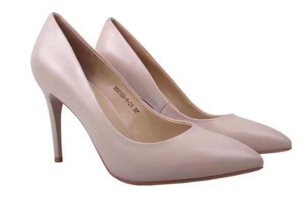 Туфли женские на шпильке из натуральной кожы, пудровые, Anemone