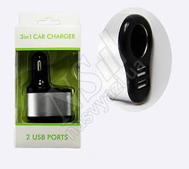 АЗУ USB Car Charger 5V 3.1A 3в1 2 Ports черный