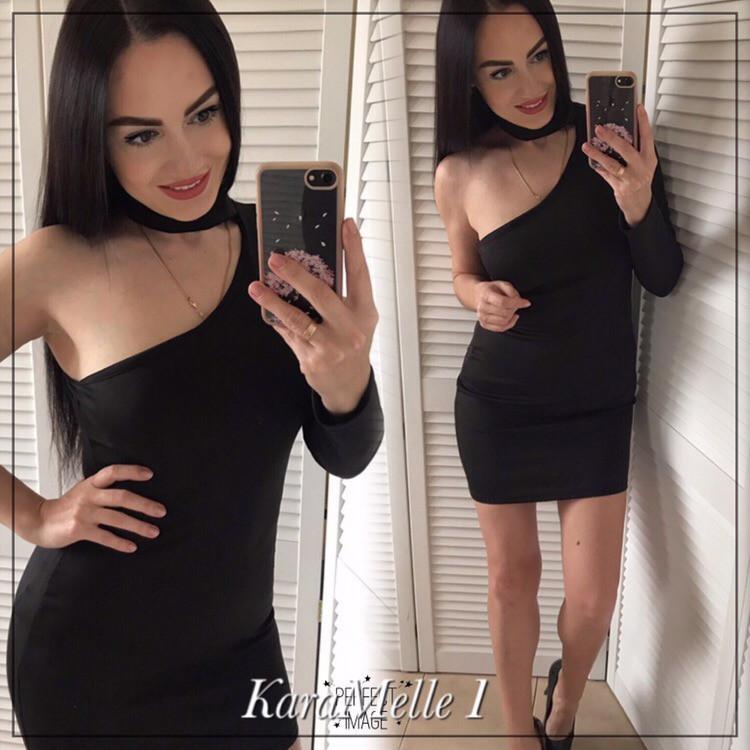 Черное платье с одним рукавом и чокером 51plt2395