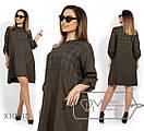Трикотажное платье - трапеция в больших размерах с принтом 1blr1402, фото 2