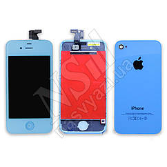 Дисплей APPLE iPhone 4S голубой комплект с тачскрином,задней крышкой Н/С