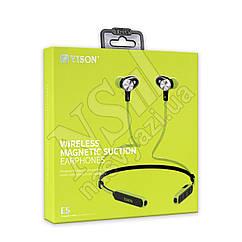 Наушники Bluetooth YiSON E5 Wireless Magnetic Suction вакуумные с гарнитурой, зеленые