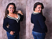 Черный теплый женский батальный вязаный свитер с V-воротом на длинный рукав. Арт - 7775/93, фото 1
