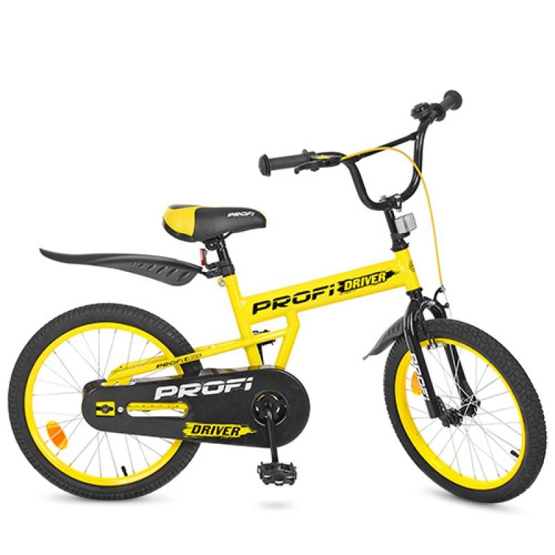 Детский двухколесный велосипед PROFI 20 дюймов Driver (желтый),L20111
