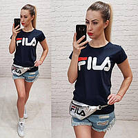 Женская футболка реплика Fila Турция 100% катон темно-синяя