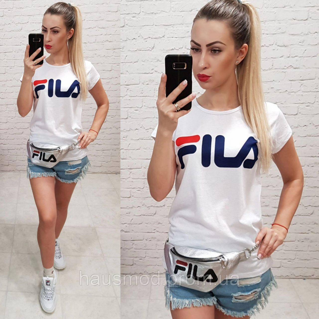 Женская футболка реплика Fila Турция 100% катон белая