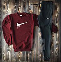Мужской спортивный костюм, чоловічий костюм Nike (красный+черный), Реплика