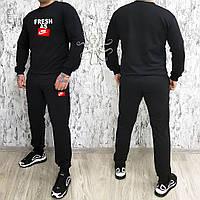 Мужской спортивный костюм, чоловічий костюм Nike (черный+красный лого), Реплика