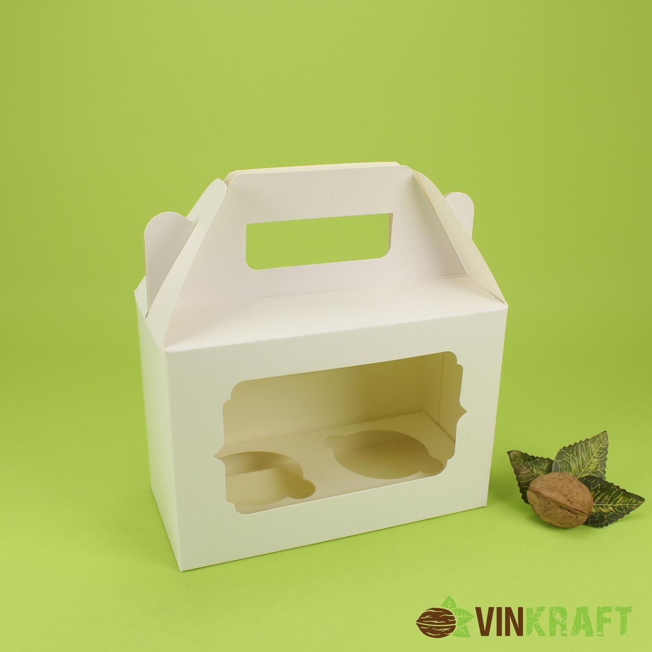 Коробка 190*90*130 для капкейків з вікном (2 шт), біла