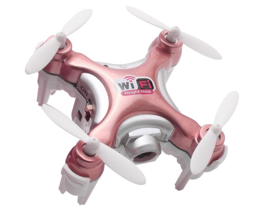 Квадрокоптер нано на радиоуправлении Cheerson CX-10WD-TX с камерой Wi-Fi. розовый
