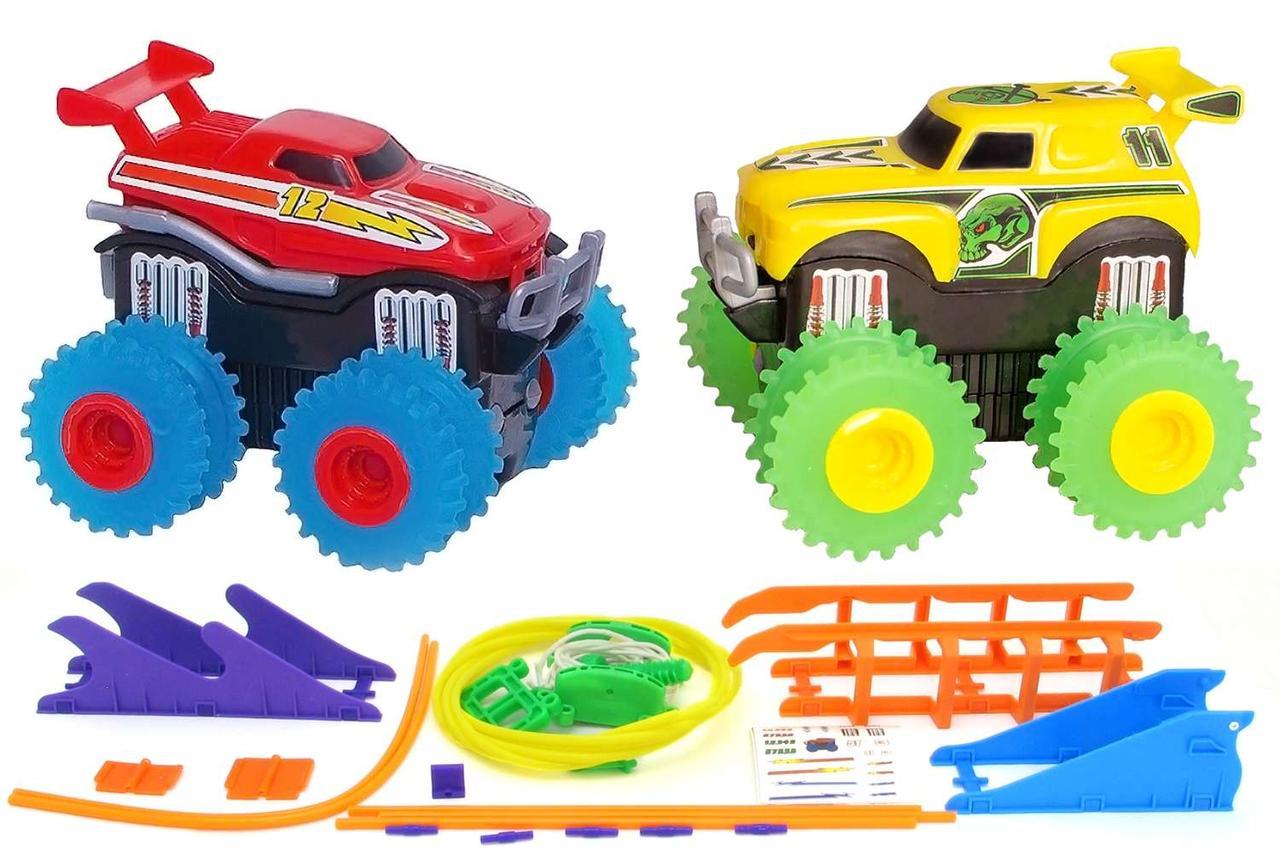 Машинки на батарейках Trix Trux набор 2 машинки с трассой. красный плюс желтый