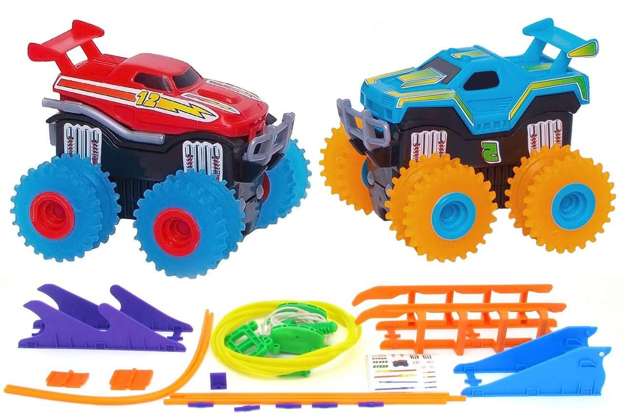 Машинки на батарейках Trix Trux набор 2 машинки с трассой. красный плюс синий