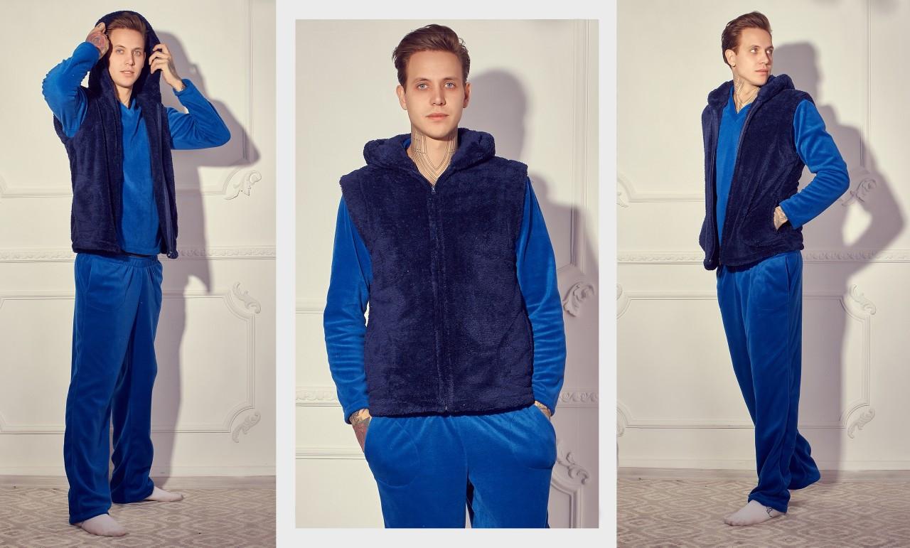 Купить Пижаму мужскую махровую тройку синюю оптом и в розницу от ... c230c3f70a892