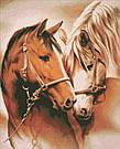 Рисование камнями на холсте Идейка Пара лошадок (AM3003) 40 х 50 см (На подрамнике), фото 2