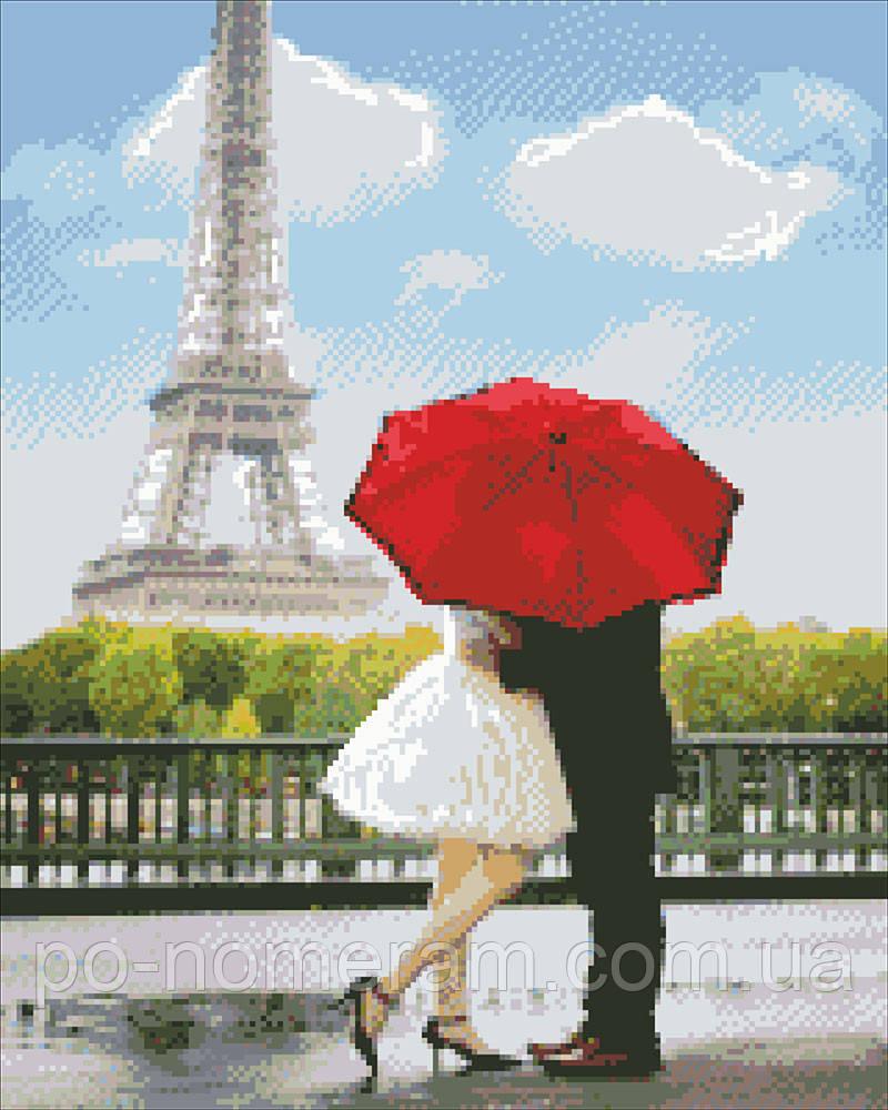 Алмазная вышивка Идейка Любовь в Париже (AM1011) 40 х 50 см (На подрамнике)