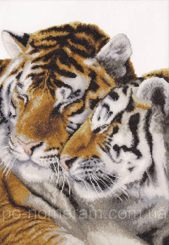 Рисование камнями на холсте Идейка Тигриная любовь (AM3015) 40 х 50 см (На подрамнике)