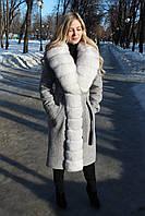 Пальто женское с мехом песца ПТ-02