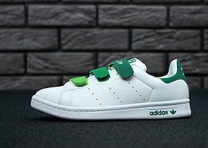 Кроссовки Adidas Stan Smith, белый + зеленый, прошиты