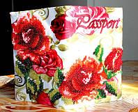 """Обложка на паспорт, вышитая бисером: """"Розы. Винтаж"""""""
