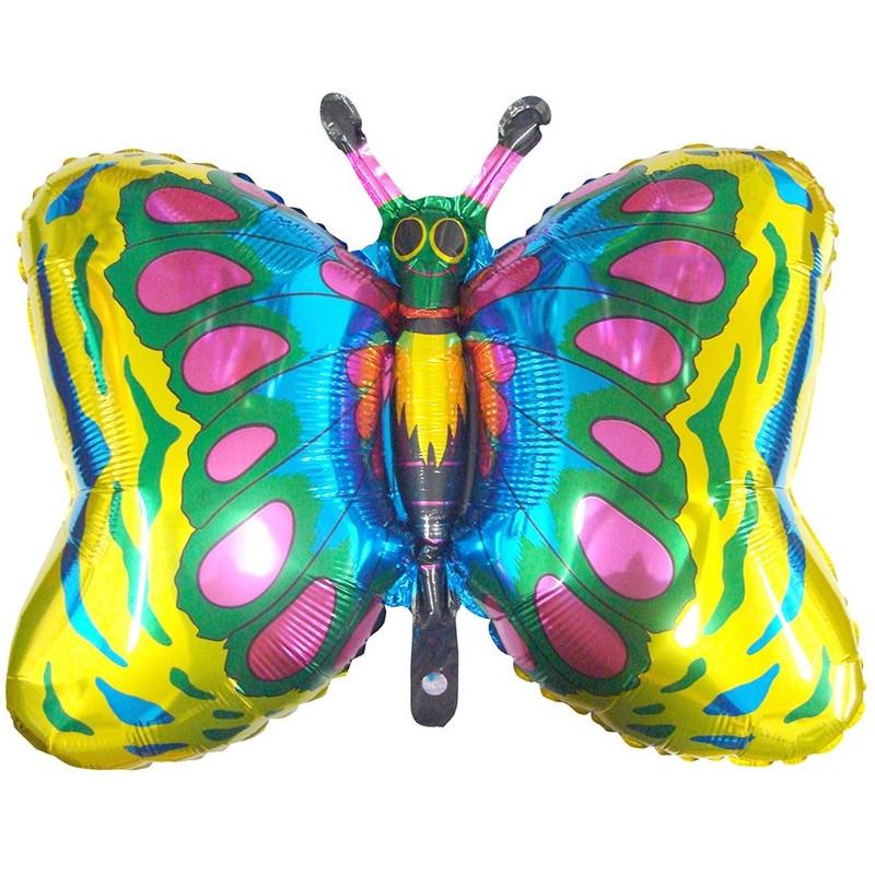 """Фольгированный шар Бабочка Золото, Flexmetal (Испания), 23""""/59 см x 35""""/89 см"""