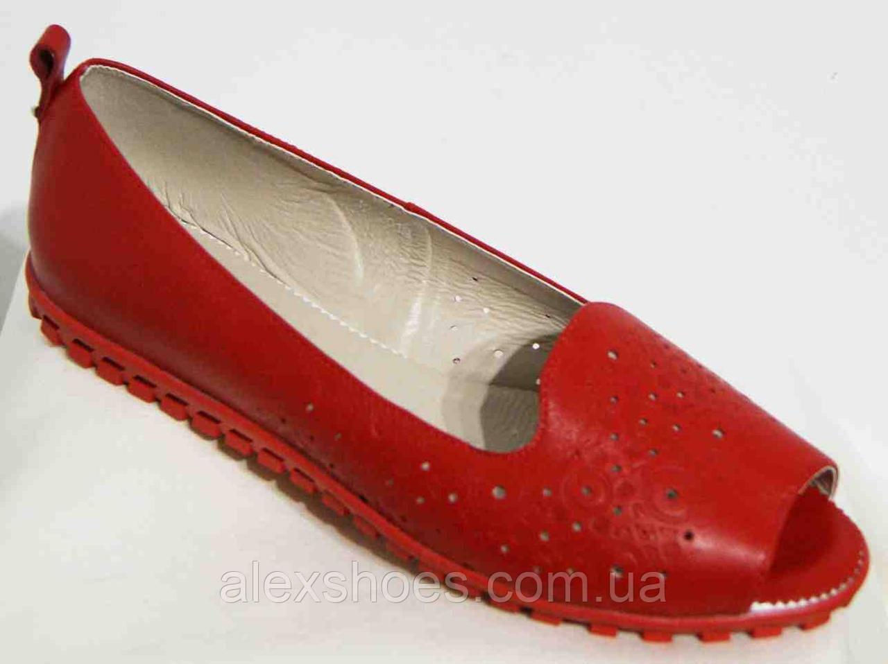 Балетки женские большого размера из натуральной кожи красного цвета от производителя модель В5106-16