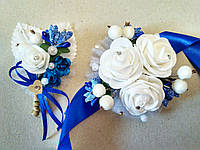 Свадебная бутоньерка и браслет Rose. Цвет синий.