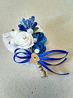 Бутоньерка свадебная Rose. Цвет синий.